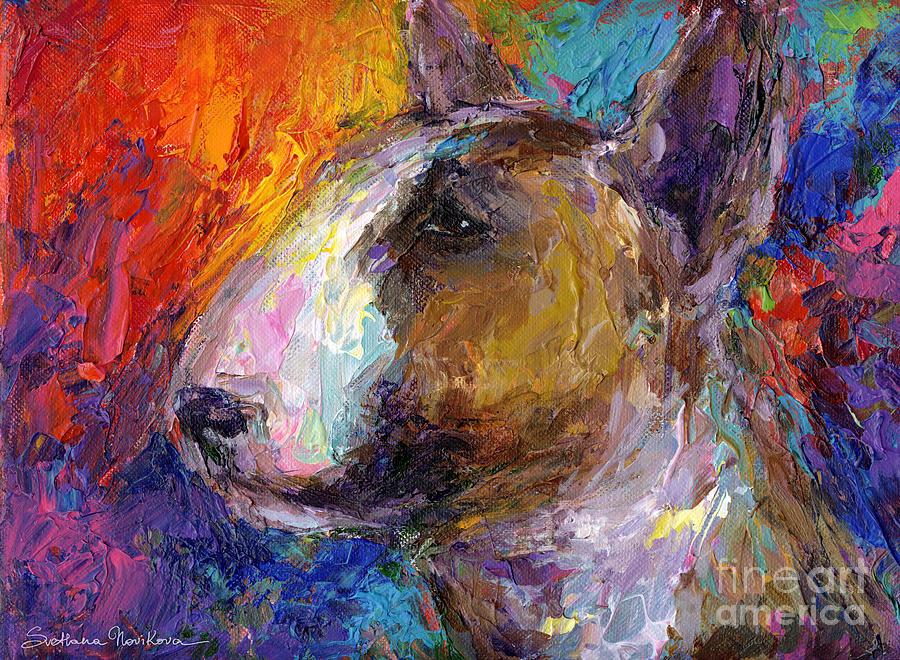 English Bull Terrier Prints Painting - Bull Terrier Dog Painting by Svetlana Novikova