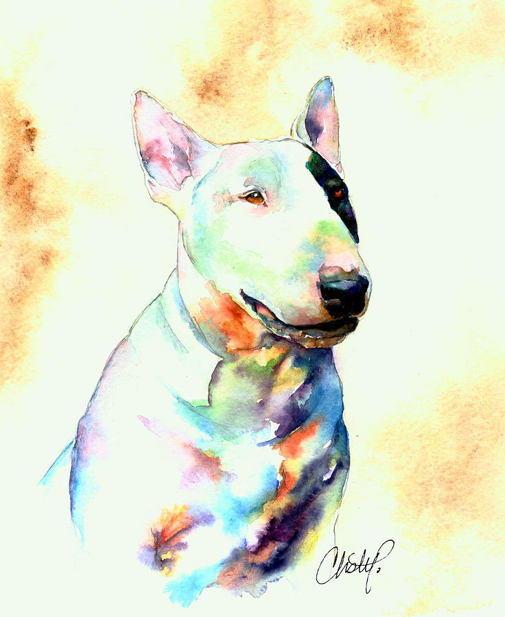 Bull Terrier Dog Portrait Painting By Christy Freeman - Bull terrier art