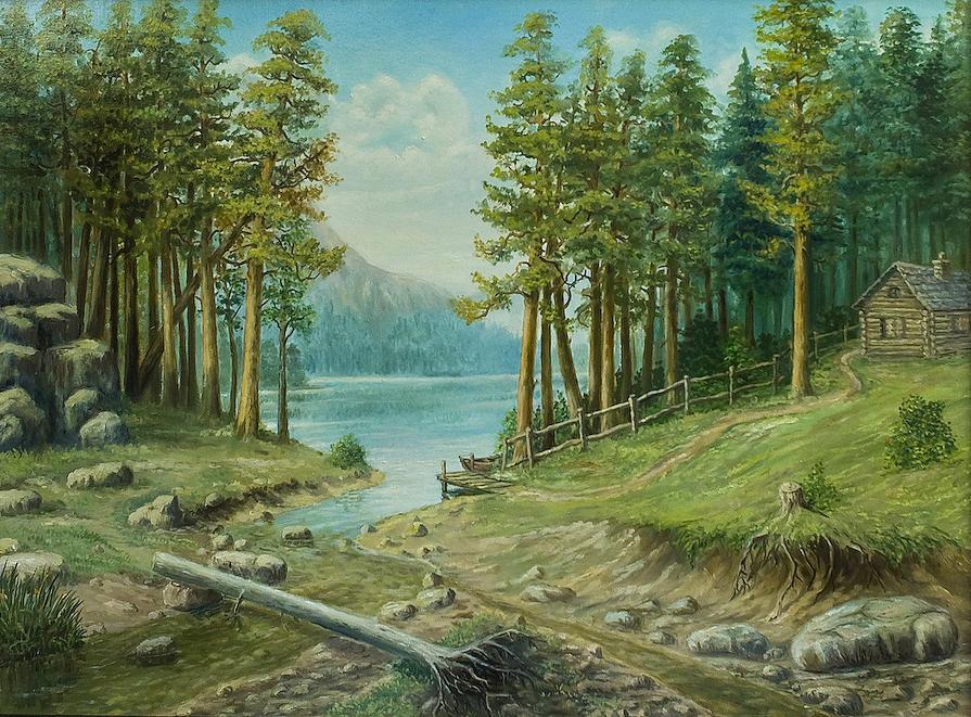 Oil Painting - Bull Trout Lake by Vladimir Bibikov