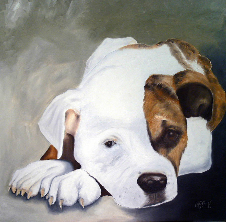 Bulldog Painting by Dick Larsen