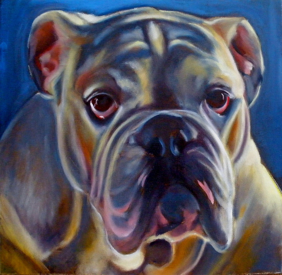 Bulldog Painting - Bulldog Expression 2 by Kaytee Esser