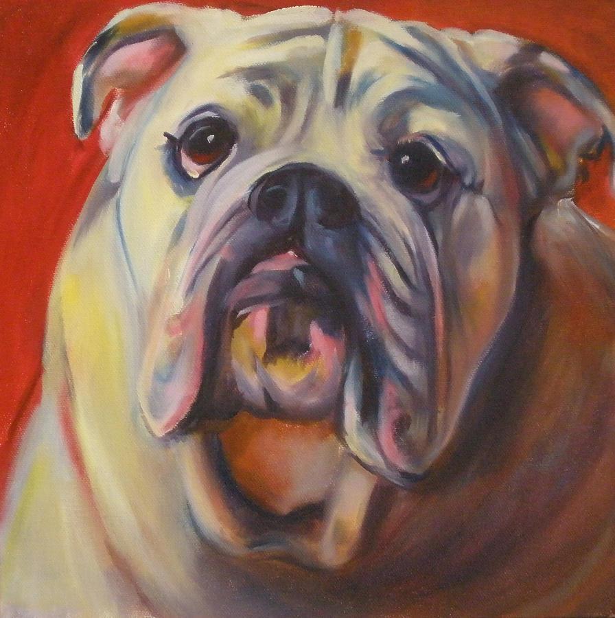 Dog Portrait Painting - Bulldog Expression One by Kaytee Esser