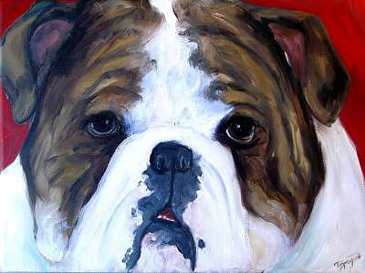 Custom Pet Portraits Painting - Bulldog Love by Deborah Sprague