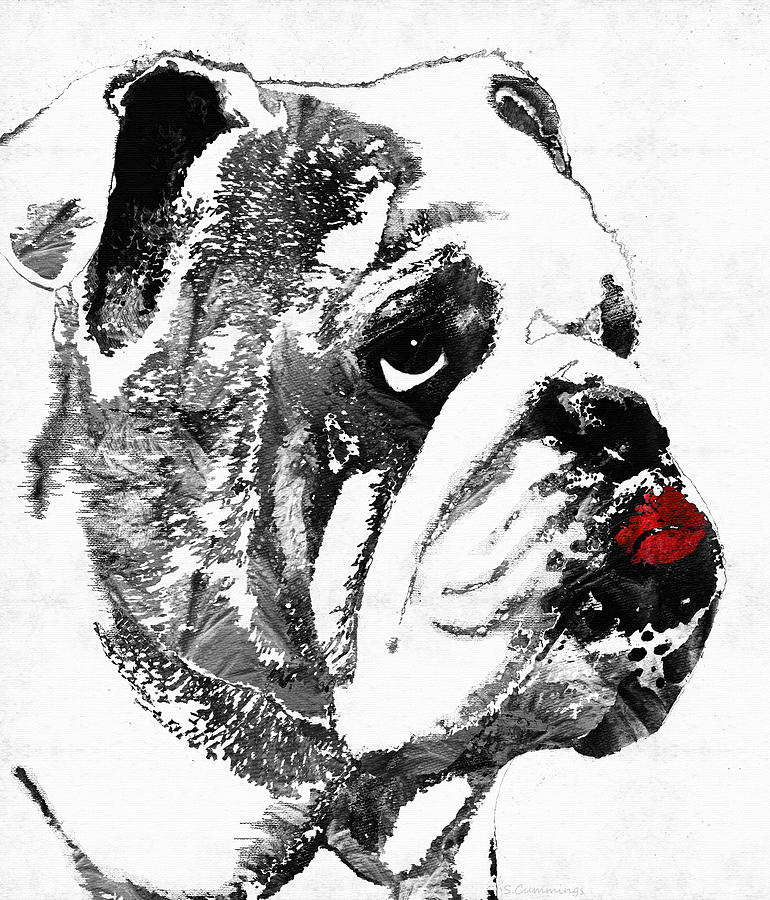 Dog Painting - Bulldog Pop Art - How Bout A Kiss 2 - By Sharon Cummings by Sharon Cummings