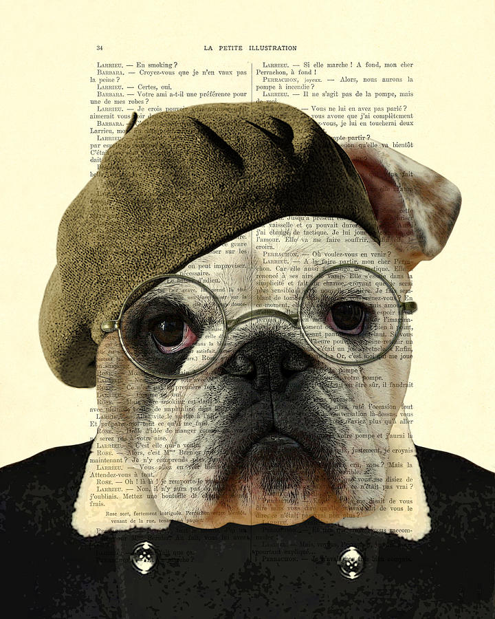 Bulldog Digital Art - Bulldog Portrait, Animals In Clothes by Madame Memento