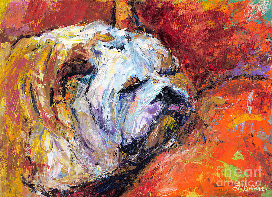 Bulldog Painting Painting - Bulldog Portrait Painting Impasto by Svetlana Novikova