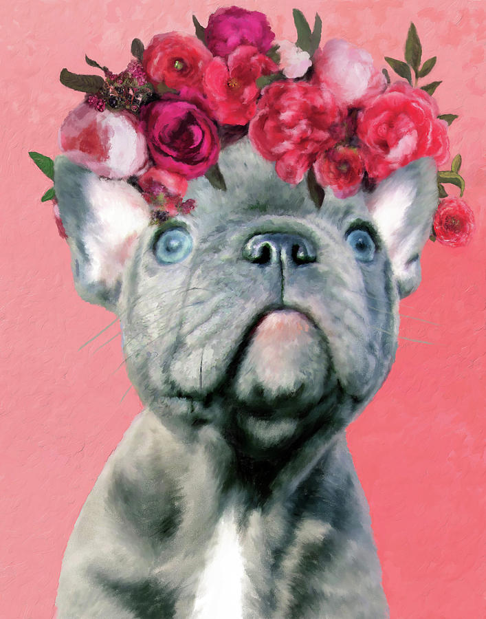 Bulldog with Flowers by Portraits By NC