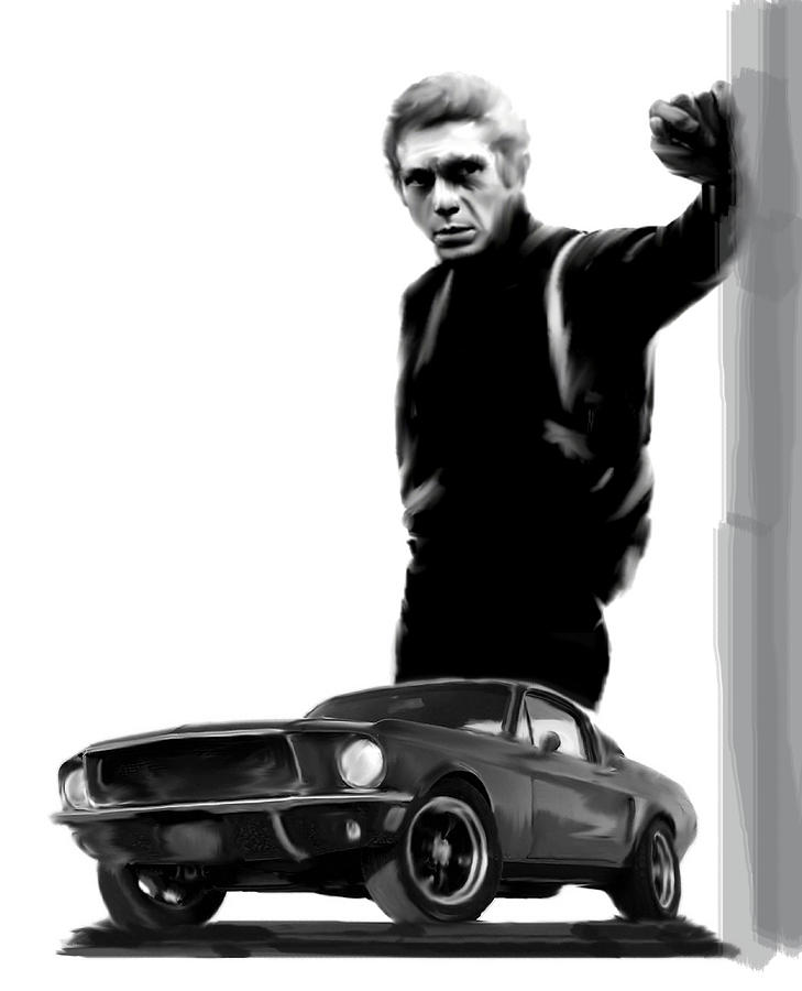 bullitt cool steve mcqueen painting by iconic images art gallery david pucciarelli. Black Bedroom Furniture Sets. Home Design Ideas