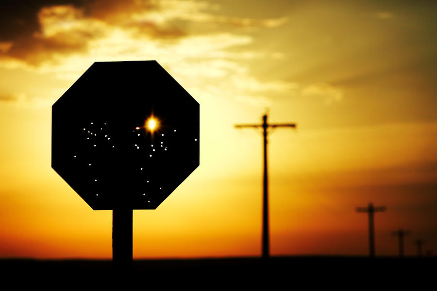 Stop Photograph - Bullet-riddled Stop Sign by Todd Klassy