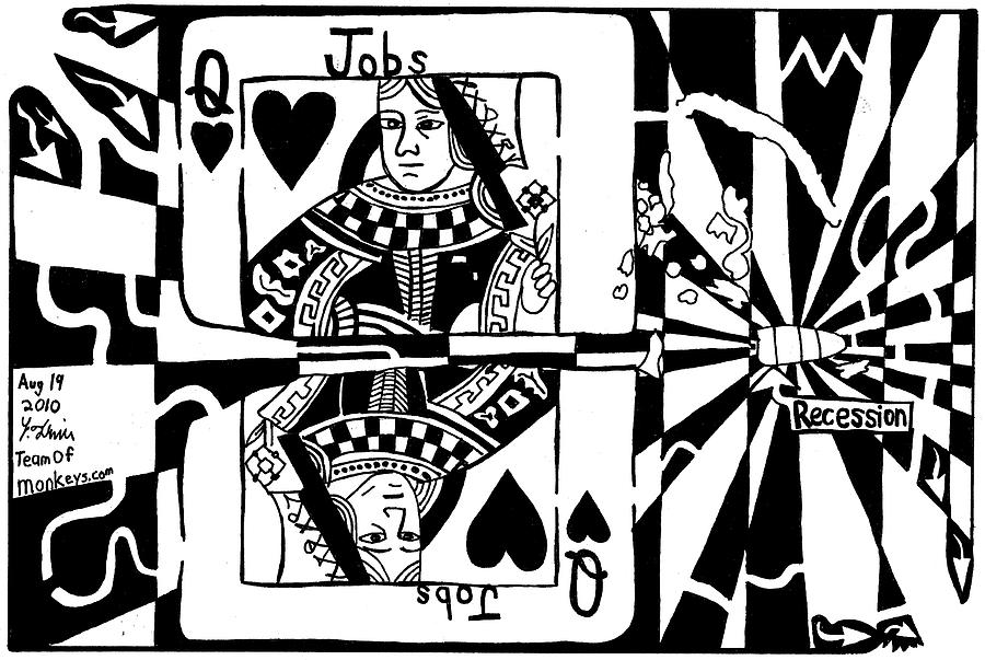 Queen Drawing - Bullet Thru The Queen Of Hearts...recessions Effect On Jobs By Yonatan Frimer by Yonatan Frimer Maze Artist