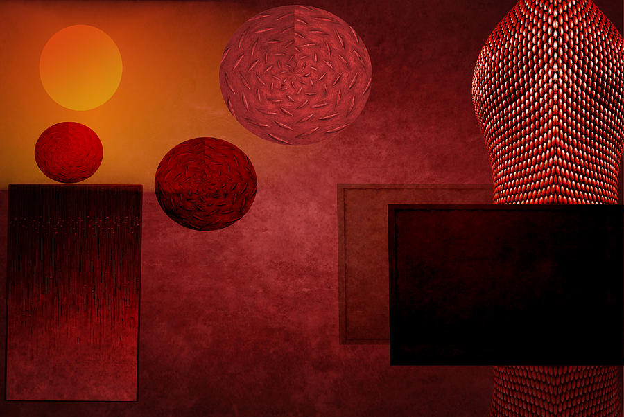 Red Digital Art - Bullring by Peter Leech