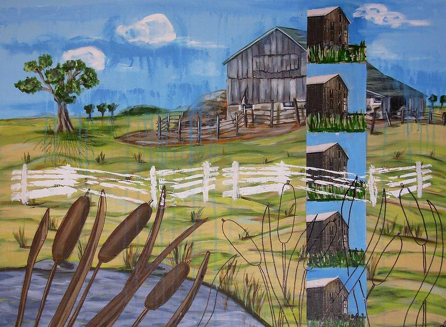 Farms Painting - Bullrushes by Judy Anderson
