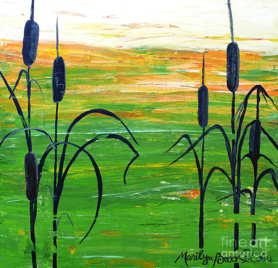 Painting Painting - Bullrushes by Marilyn Brooks