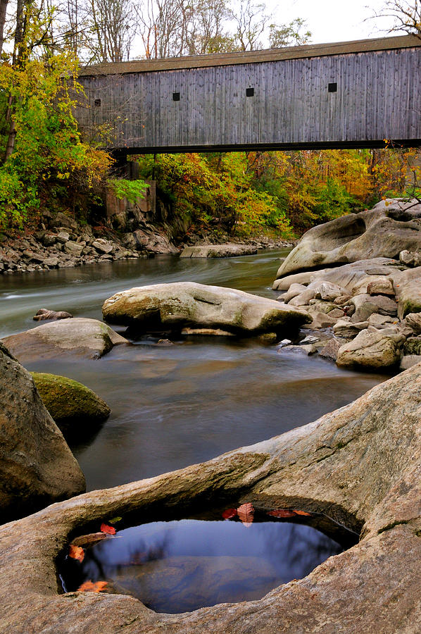 Bulls Bridge Photograph - Bulls Bridge - Autumn Scene by Thomas Schoeller