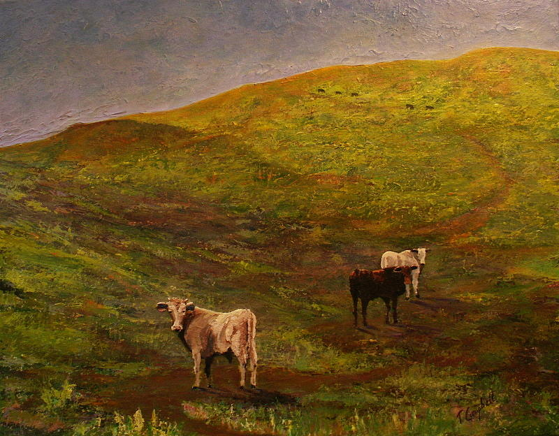 Landscape Painting - Bulls On Figueroa Mt. by Trish Campbell