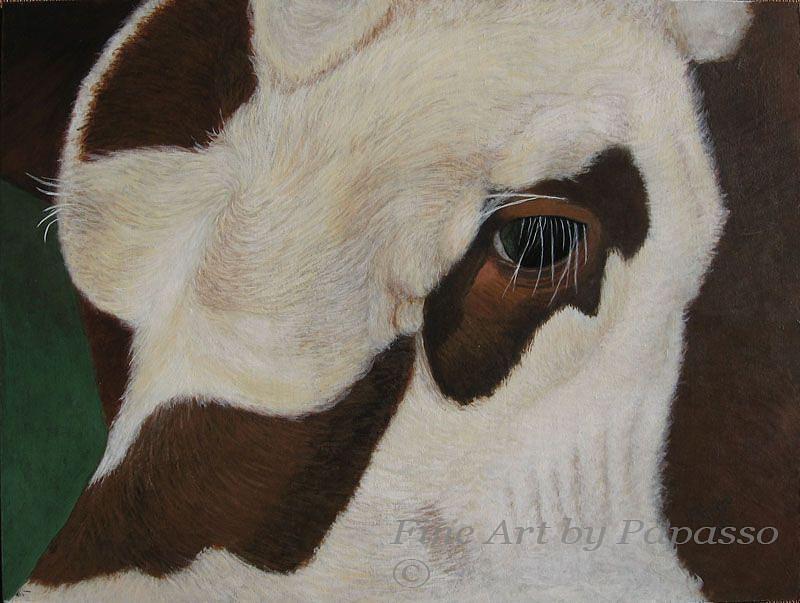Bull Painting - Bullseye by Kathie Papasso