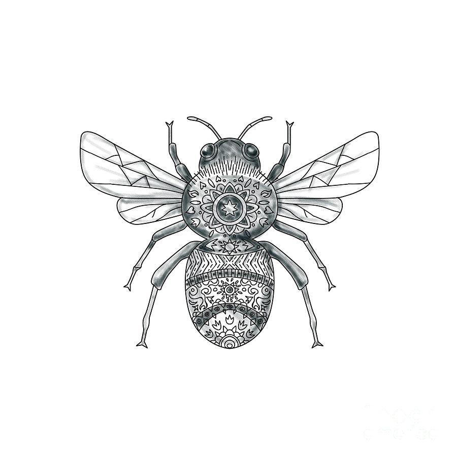 ba81704b57e70 Bumble Bee Mandala Tattoo Digital Art by Aloysius Patrimonio
