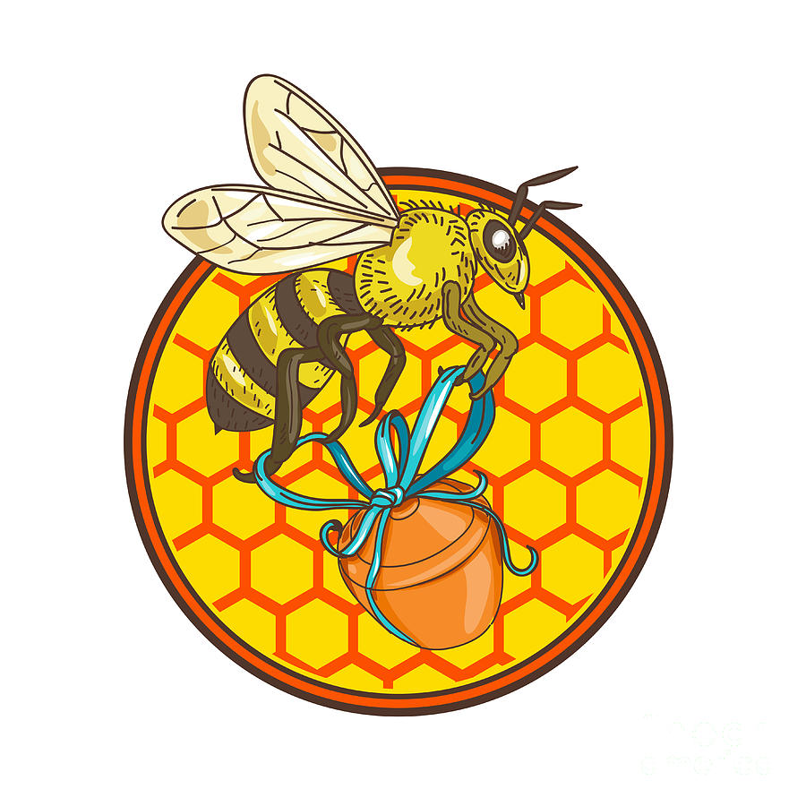 Bumblebee Carrying Honey Pot Beehive Circle Digital Art by Aloysius ...
