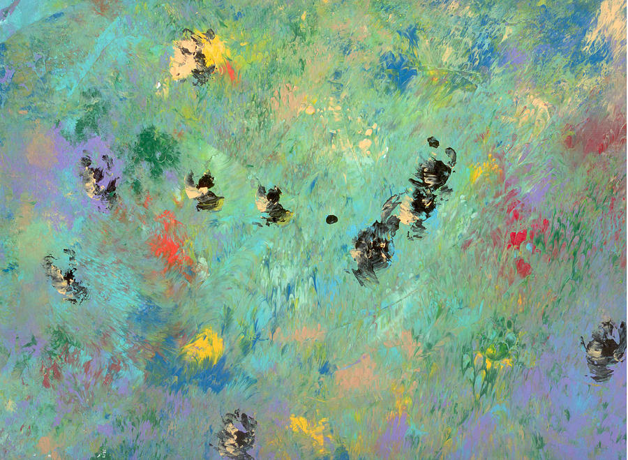 Abstract Painting - Bumblebees by Helene Henderson
