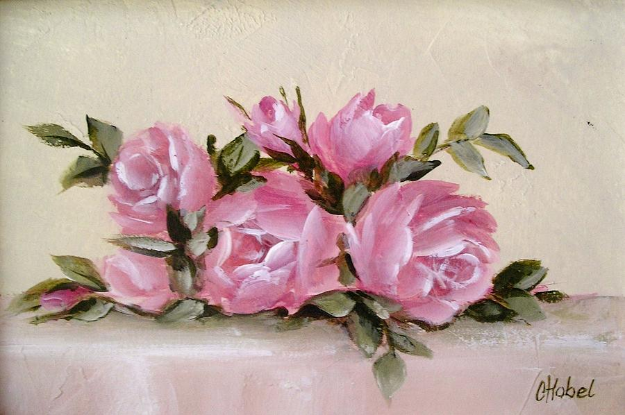 Bunch of pink roses painting painting by chris hobel shabby chic roses painting bunch of pink roses painting by chris hobel mightylinksfo
