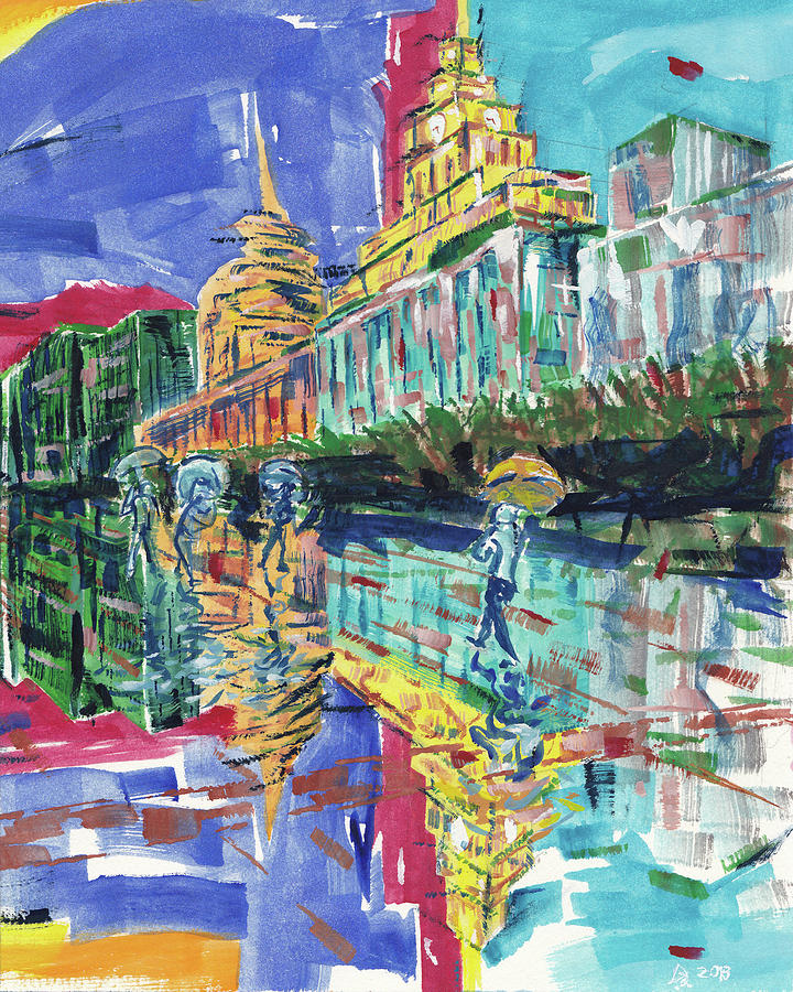 Shanghai Bund Painting - Bund In Shanghai, China, In Front Of The Custom House Clock Tower by Dave Alber