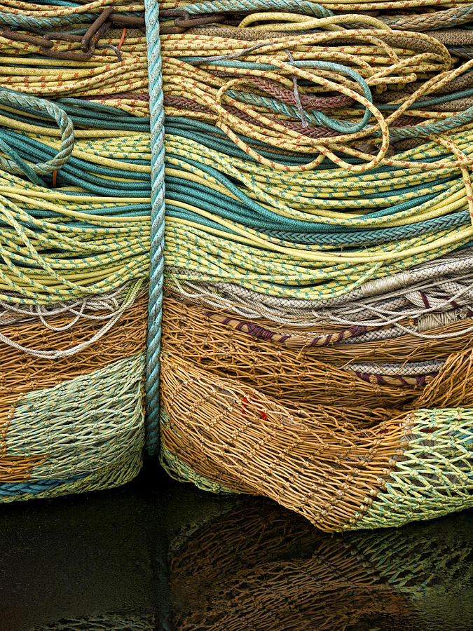 Fishing Photograph - Bundle Of Fishing Nets And Ropes by Carol Leigh