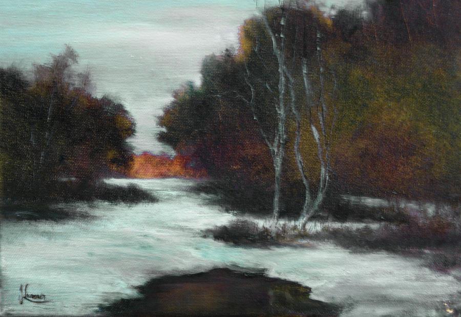 Winter Painting - Bundle Up by JoAnne Lussier