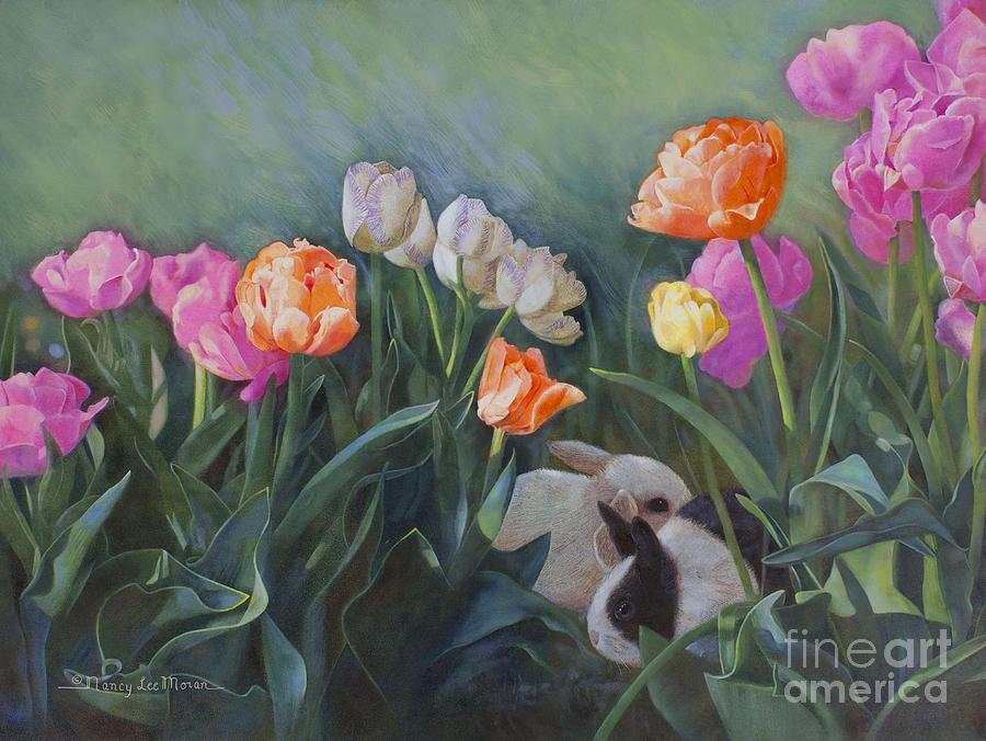Tulips Painting - Bunnies In The Blooms by Nancy Lee Moran