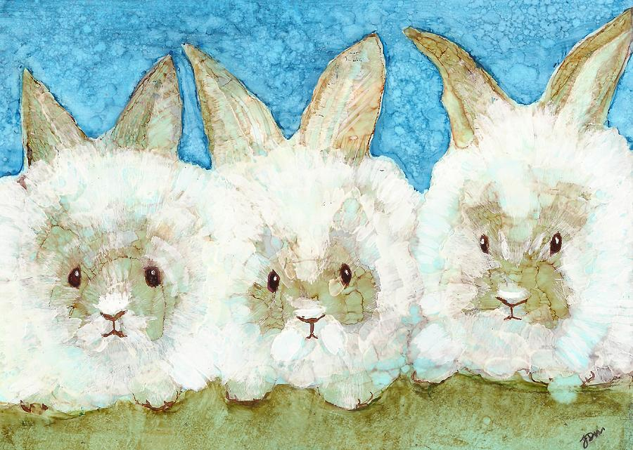 Alcohol Ink Painting Painting - Bunnies by Joy Dorr