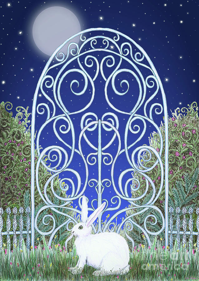 Bunny, Gate and Moon by Lise Winne