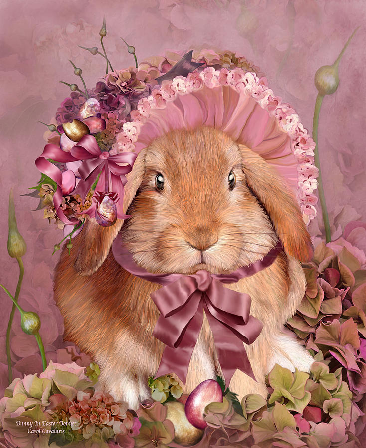 Bunny In Easter Bonnet Mixed Media by Carol Cavalaris