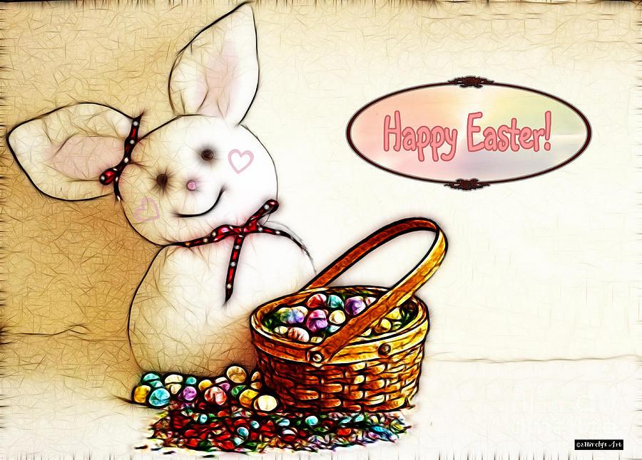 Bunny N Eggs Photograph - Bunny N Eggs Card by Methune Hively