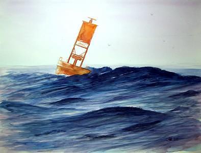 Ocean Painting - Buoy In Florida by Charles Falk Jr