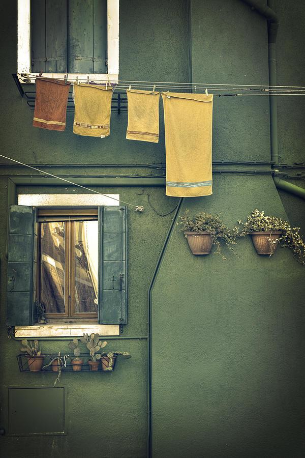 Green Photograph - Burano - green house by Joana Kruse