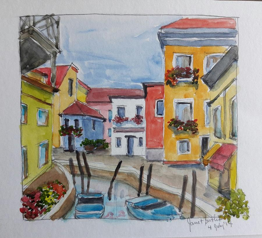 Watercolors Painting - Burano, Italy by Janet Butler