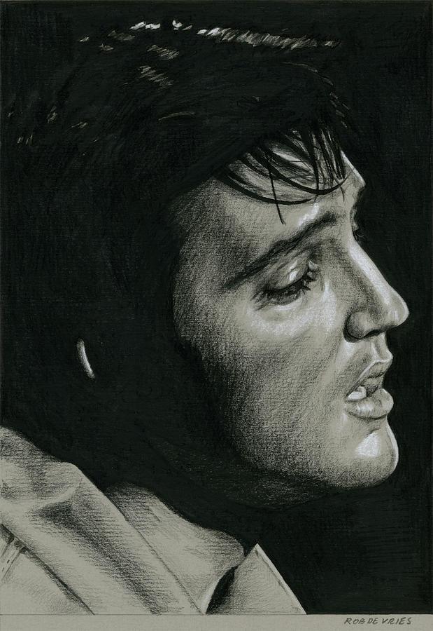 Elvis Drawing - Burbank California 68, no.2 by Rob De Vries