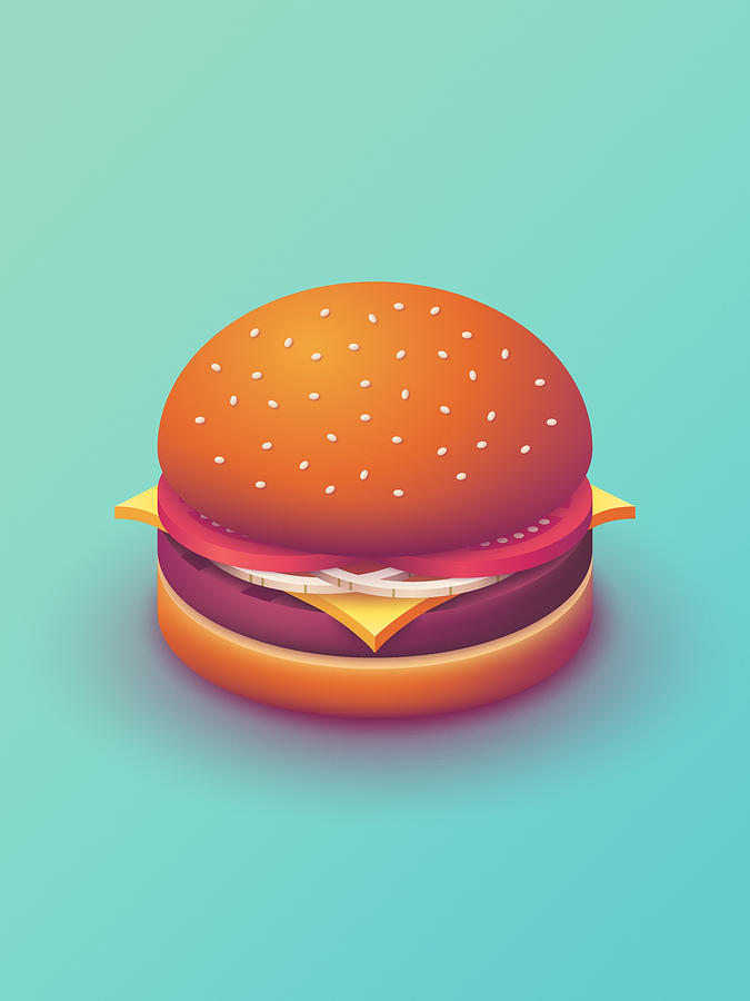 Burger Digital Art - Burger Isometric - Plain Mint by Ivan Krpan