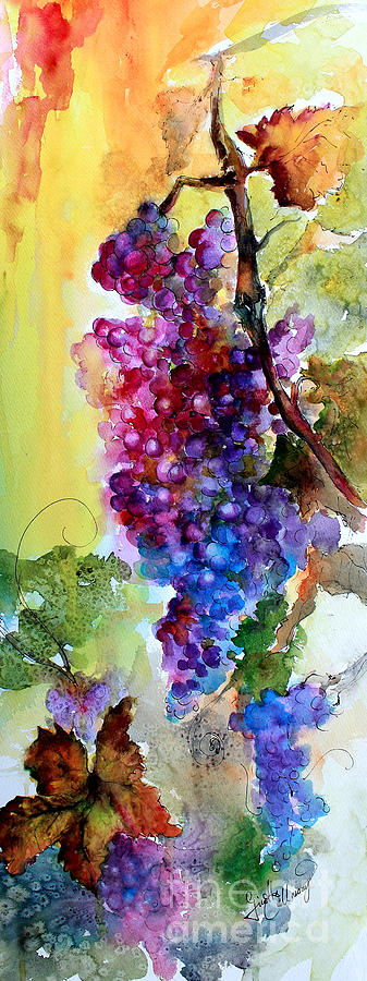 Wine Grapes Burgundy in Sunlight Painting by Ginette Callaway