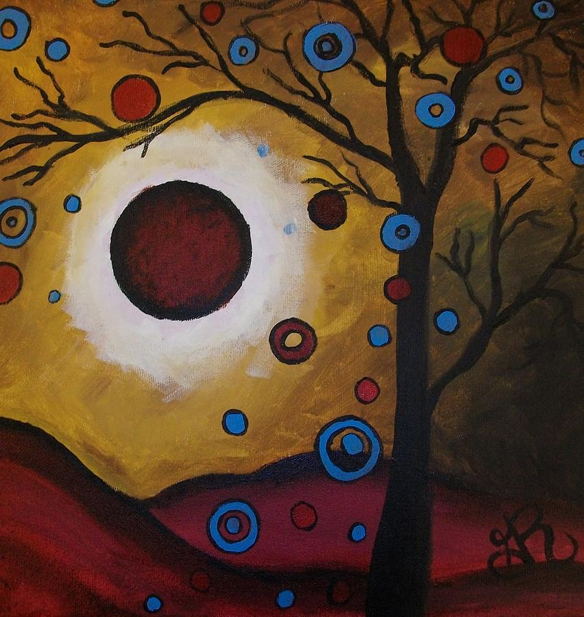 Landscape Painting - Burgundy Moon by Ginny Roberts