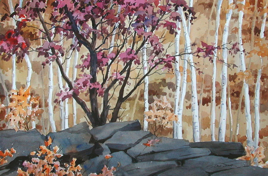 Fall Painting - Burgundy On The Rocks by Faye Ziegler