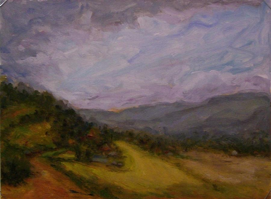 Landscape Painting - Burgundy Vista With Hillside Village by Carolyn Jones