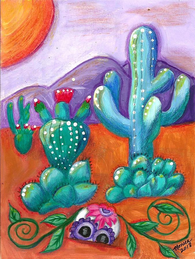 Sugar Skull Painting - Buried Sugar Skull In Desert by Monica Resinger