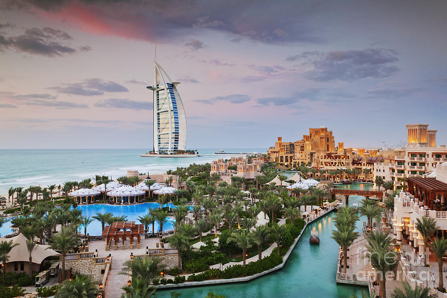 Abstract Photograph - Burj Al Arab Hotel And Madinat Jumeirah Resort by Jeremy Woodhouse