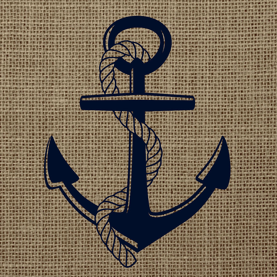 Brandi Fitzgerald Digital Art - Burlap Anchor by Brandi Fitzgerald