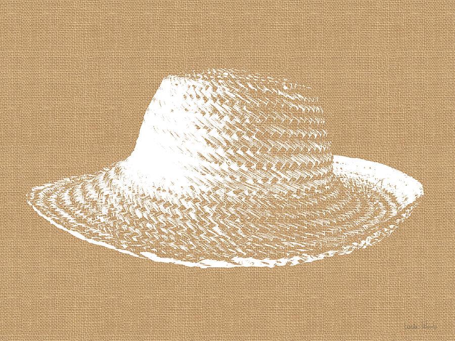 Sun Hat Digital Art - Burlap And White Sun Hat- Art By Linda Woods by Linda Woods