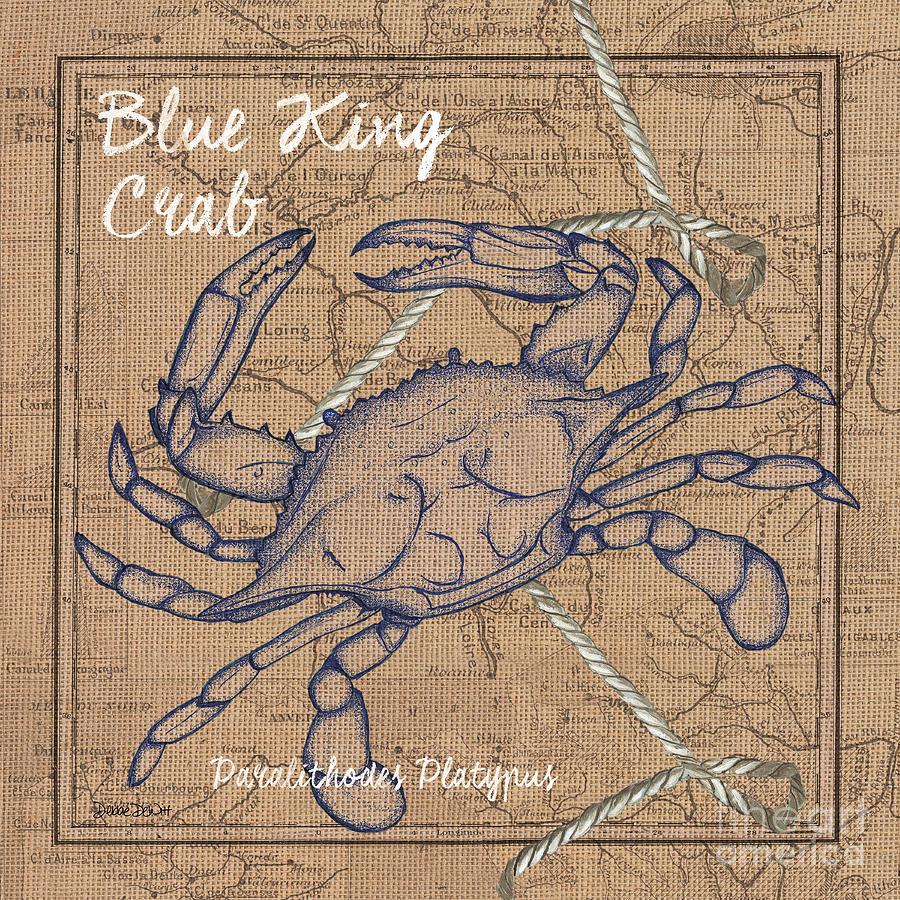 Blue Crab Painting - Burlap Blue Crab by Debbie DeWitt