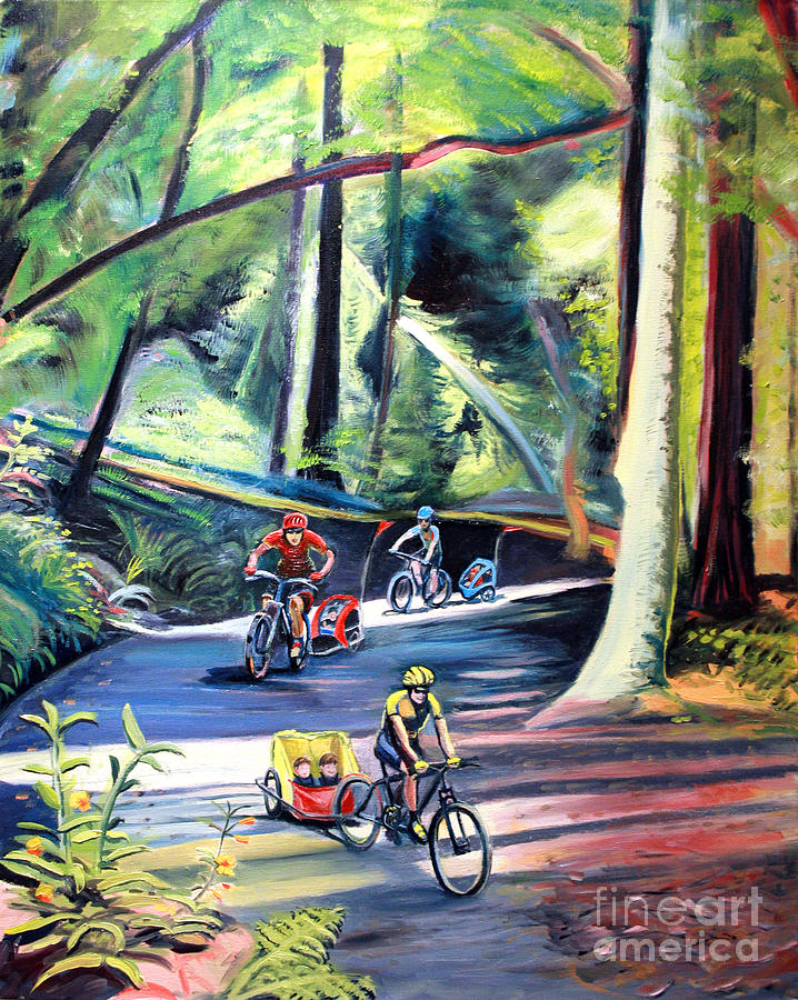 Bike Painting - Burley Bike Parade On Shaver Grade by Colleen Proppe
