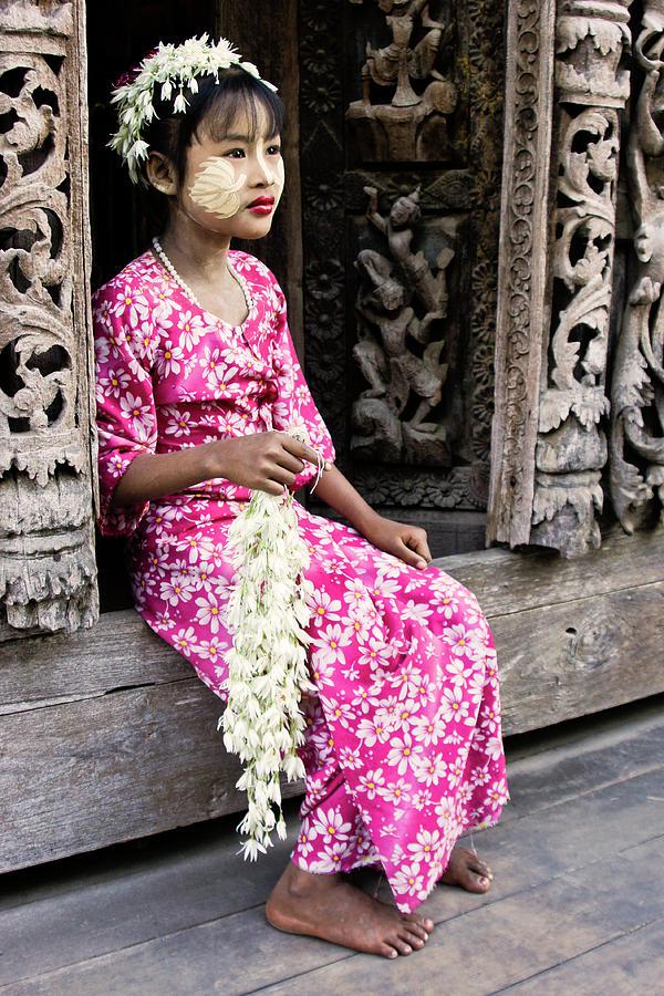 Myanmar Photograph - Burmese Flower Vendor by Michele Burgess