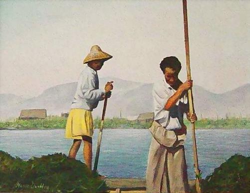 Burma Painting - Burmese Water Gardeners by Marie Dunkley