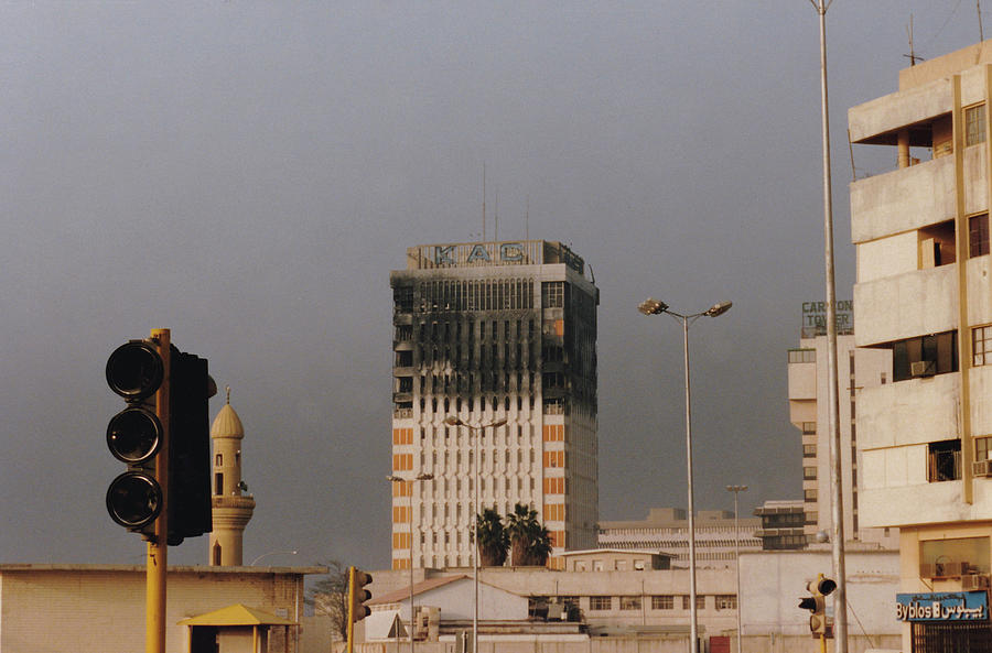 Burned Headquarters Of Kuwait Airways Building In Kuwait City by Karen Foley